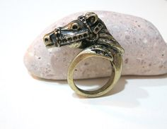 Vintage Brass Horse Jockey Ring by AccessoriesG on Etsy, $2.30