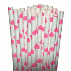 "25 Paper Drinking Straws Pink Hearts 7.75"" Retro Vintage Style Durable by paperstraws. $5.99. Retro style. Covered with food safe coating. Length 7.75"". Biodegradable. Durable. OH SO CUTE!!!!!  Length- 7 3/4"" (suitable for cold beverages) Our retro style drinking straws are not only colorful and fun they are made of paper so they are completely biodegradable.  These straws are thick and are covered with food safe coating to make them last for hours.  They are perfect for..."