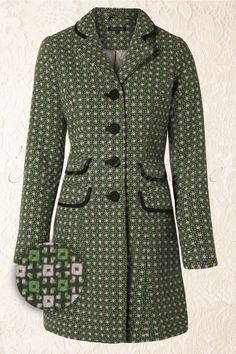 King Louie - 60s Peggy Retro Style Coat in Thyme