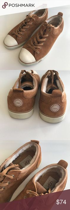 Ugg Australia Sneaker Shoes 11 Pair of Ugg sneakers. Excellent pre owned condition. Worn once. A few scuffs. Yellow tint rubber base. Suede outside, tan color. Hard to find size 11 women.  See all pictures. Happy to answer any questions. Ugg S/N 1888 style Uggs Shoes Sneakers
