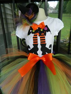 Girls Witch Skirt Legs Halloween Orange Black TuTu Outfit  Costume Applique Shirt Your choice in colors sizes 5 6 7 8