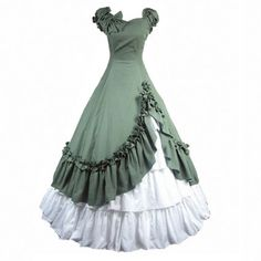 Cozy Age Women's Bowknot Short Sleeve Classic Lolita Dress Masquerade Party Evening Gown Green,Medium
