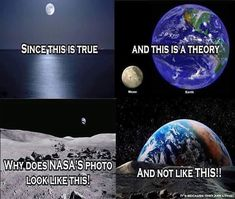 The photo on the top right is a comparison between the sizes of Earth and the moon. Flat Earth Conspiracy, Moon Landing Conspiracy, Flat Earth Proof, Flat Earth Meme, Flat Earth Facts, Terre Plate, Conspericy Theories, Nasa Lies, Earth Memes