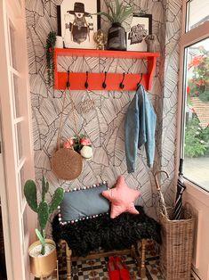Quirky Boho Entrance Porch Makeover Reveal Quirky Boho Entrance Porch Makeover Reveal Get Decor Style Ideas For A Boho Interior […] Quirky Decor, Unique Home Decor, 1930s Porch, Small Porch Decorating, Palm Leaf Wallpaper, House Front Porch, Boho Dekor, Small Porches, Porch Makeover