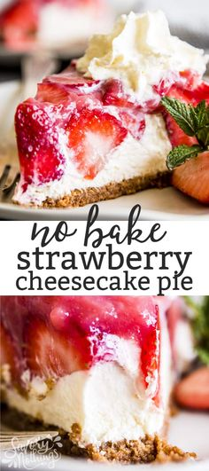 This No Bake Strawberry Pie with Cream Cheese Filling is everything you want in a spring and summer dessert: Easy to make, full of fresh fruit (3 pounds of strawberries in there!) and with a cool and creamy layer of cheesecake filling. Yum! | #recipe #easyrecipes #summer #summerrecipes #strawberry #strawberryrecipes #nobake #pie #mothersday #easter #cheesecake #dessert #easydessert #easydessertrecipes #summerdessert #bbq #partyfood #picnic #nobakedessert