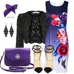 Blue Gradient Sleeveless Floral Bodycon Dress