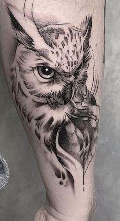 Owl Tattoo Chest, Mens Owl Tattoo, Owl Tattoo Small, Cool Chest Tattoos, Chest Tattoos For Women, Leg Tattoo Men, Badass Tattoos, Forearm Tattoos, Cute Tattoos