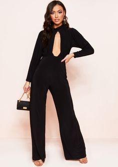 36d1d501fd8d Missyempire - Tilly Black Open Front Slinky Jumpsuit Jumpsuit
