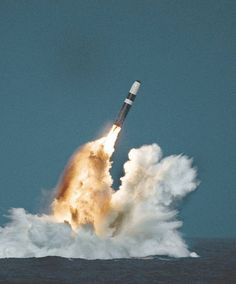 A Trident missile launched from a Royal Navy Vanguard class ballistic missile submarine