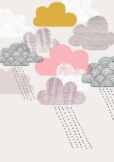 An update on my popular Passing Shower print, Passing Shower Pink takes a different angle with a fresh new palette. This piece incorporates the Pattern Design, Print Design, Graphic Design, Poster Prints, Art Prints, Pattern Illustration, Illustrations And Posters, Love Art, Cute Wallpapers