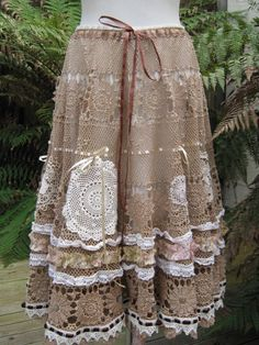 NO DOILIES  Vintage Kitty.. coffee crochet.. romantic full circle skirt.. shabby chic, hand dyed, lace, roses.. SML - MED - LGE. $225.00, via Etsy.