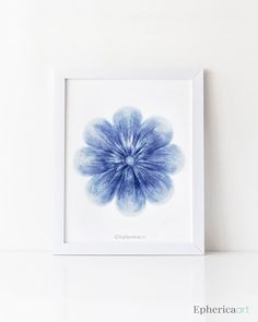 Blue Flower art print, flower wall art print, Blue home decor Flower wall print, Bathroom decor, Flower wall decor, Blue and white decor EphericaArt.etsy.com