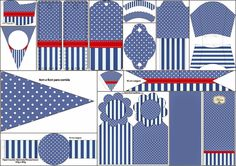 Blue Stripes and White Polka Dots: Free Party Printables. Free Baby Shower Printables, Party Printables, Free Printables, Sailor Party, Candy Bar Party, Magic Party, Nautical Party, Foto Baby, Tent Cards