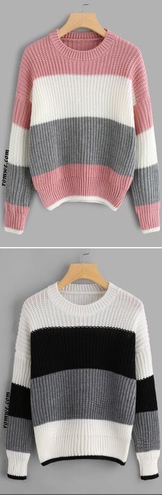 9c2520ed426e2 Drop Shoulder Color Block Sweater Color Block Sweater
