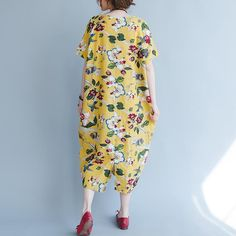 women yellow Midi linen dresses trendy plus size traveling clothing vintage back open floral cotton dresses Summer Dresses For Women, Trendy Dresses, Loose Dresses, Linen Dresses, Cotton Dresses, Trendy Plus Size, Plus Size Women, Fashion Over 50, Ideias Fashion