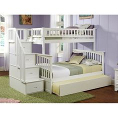 Abel Staircase Twin Over Full Standard Bed with Trundle