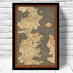 Game of Thrones Map Vintage Style Map Fan Art door ConsiderGraphics
