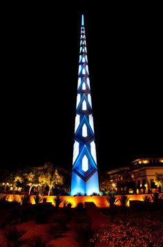 Frank Lloyd Wright Memorial - Blue and cyan spire of the Frank Lloyd Wright Public Memorial in Scottsdale Arizona,USA