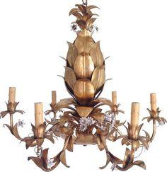 Italian Gilt Pineapple Chandelier