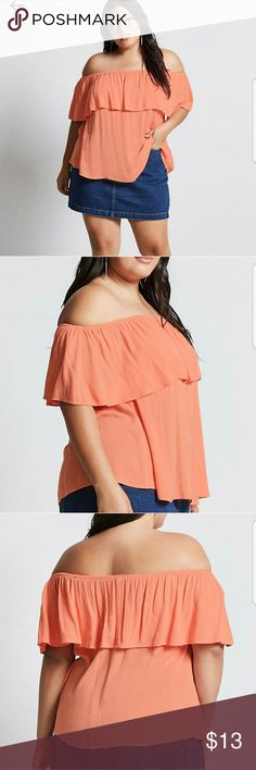 🆕 Peach Off the shoulder top NWT. See last photo product description Forever 21 Tops