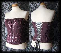 Gothic Plum Burgundy Sequin WINSOME Lace Up Corset Top 8 10 Victorian Vintage - £19.00