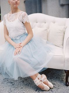 Ballerina bride in powder blue tulle skirt | Melanie Gabrielle Photography | see more on: http://burnettsboards.com/2014/05/enchanting-ballerina-themed-wedding/ #ballerina #bride