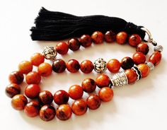 Turkish Islamic 33 Prayer Beads, Tesbih, Tasbih, Misbaha, Sufi, Worry Beads, Relaxation, Orange Turkey turquoise  on Etsy, $40.00