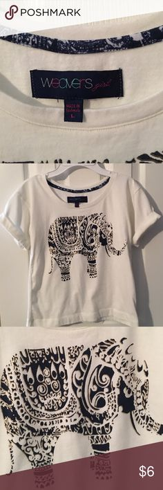 Girl's Elephant Shirt Off-white tee with navy/gold elephant/cuffed sleeves Shirts & Tops Tees - Short Sleeve