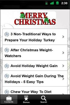 "Every holiday season, many of us look forward to eating special treats made using long-held and cherished family recipes. <p>This will also show some simple holiday diet tips and tricks and you'll avoid the holiday weight gain that afflicts so many other people.<p>Introducing.. ""Christmas Food Ideas""<p>This contains 47 guides that will surely be helpful:<p>3 Non-Traditional Ways to Prepare Your Holiday Turkey<br>After Christmas Weight-Watchers<br>Avoid Holiday Weight Gain<br>Avoid Weight…"
