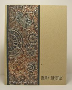 ALCOHOL INKS ON THIN, MIRROR CARD STOCK/PAPER    Laurie's Stampin Place: Gears