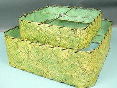 Vtg 50's Mid Century Eames Fiberglass Atomic Two Tier Square Green Lampshade   eBay