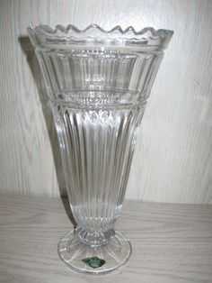 "Shannon Crystal by Godinger Hand Crafted & Glass Blown Vase 11 3/4"" High"