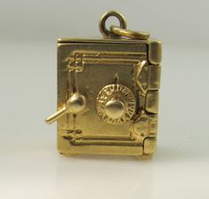 Vintage Movable Opening Safe Charm 14k Yellow Gold Estate | eBay..