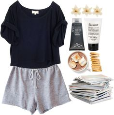 Sunday morning A fashion look from March 2013 featuring crop t shirt, Clu and dry skin makeup. Browse and shop related looks. Lounge Outfit, Lounge Wear, Cute Lazy Outfits, Summer Outfits, Casual Outfits, Comfortable Outfits, School Outfits, Study Outfit, How To Have Style
