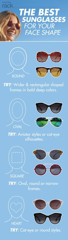 Learn how to find the perfect sunglasses to fit your face shape. While aviators might be the perfect style for your BFF, you might discover the cat-eye style is your new best friend. Shop these must-have accessories today with Nordstrom Rack and rock your sunglass style from Spring to Summer.