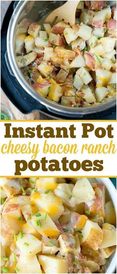 easy Instant Pot cheesy bacon ranch potatoes are an amazing side dish for . These easy Instant Pot cheesy bacon ranch potatoes are an amazing side dish for your family meal, or for the holidays next to your ham or turkey for sure! Best Instant Pot Recipe, Instant Recipes, Instant Pot Dinner Recipes, Side Dish Recipes, Instant Pot Meals, Instant Pot Potato Recipe, Top Recipes, Instant Pot Pressure Cooker, Pressure Cooker Recipes