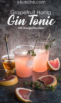 Frisch fruchtiger Grapefruit Honig Gin Tonic Cocktail - food and cocktails Cocktail Gin, Gin & Tonic Cocktails, Grapefruit Gin And Tonic, Grapefruit Cocktail, Winter Cocktails, Winter Drink, Healthy Eating Tips, Clean Eating Snacks, Bebida Gin
