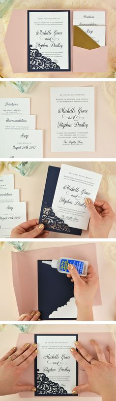 DIY Laser Cut Wedding Invitations It's so easy to craft this lace laser pocket invitation from Cards and Pockets. Perfect for an elegant wedding. Click through for a tutorial and this free wedding invitation template! Free Wedding Invitation Templates, Cricut Wedding Invitations, Elegant Invitations, Wedding Invitation Lace, Diy Wedding Envelopes, Diy Wedding Cards, Wedding Stationery, Wedding Favors, Wedding Bands