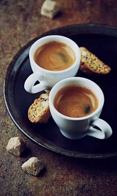 Photo about Two cups of espresso with cantuccini on a dark ceramic plate. Image of black, plate, cantuccini - 29808538 Best Espresso, Espresso Coffee, Coffee Cafe, Best Coffee, My Coffee, Coffee Drinks, Coffee Barista, Black Coffee, Coffee Mugs