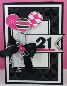 Stunning 21st Birthday card using Up, Up and Away | Narelle Farrugia, Stamplicious