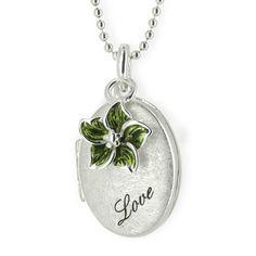 MyName, Medaillon zum Aufklappen aus Silber eismatt mit lackiertem Blüteneinhänger, inklusive einer Gravur.