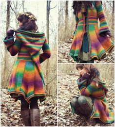 If uniqueness is your cuppa, then this coat is the absolute must have for you. The Elf Coat Pattern is a dreamy, colorful coat right out of a fairy tale. With its long hood, flaring sleeves and… Crochet Coat, Crochet Cardigan, Crochet Scarves, Crochet Clothes, Crochet Jacket Pattern, Crochet Afghans, Tunisian Crochet Patterns, Crochet Gratis, Free Crochet