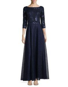 Tadashi Shoji - Three Quarter Sleeve A-Line Sequined Gown