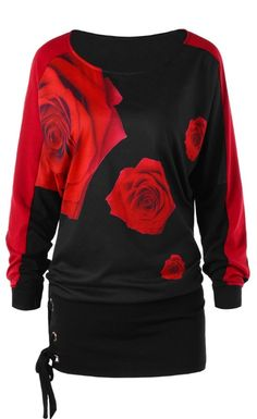Raglan Sleeve Rose Print Tunic T-shirt - Black L Mobile Dressy Lace Tops, Black Tunic, Maternity Tops, Spring, Casual Shirts, Roses, Sleeves, Fashion Site, Cheap Fashion
