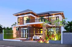 Stunning Three-bedroom Contemporary Villa with a Classic Touch - Cool House Concepts Modern Tropical House, Tropical House Design, Best Modern House Design, Modern Villa Design, Small Modern Home, Small House Design, Modern Contemporary House, Small Modern House Exterior, Village House Design