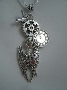 Steampunk Wings of Time Wire Wrapped Charm by arlenescornershop