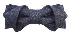 Hand made origami bow tie in grey wool with gold stripes by LD