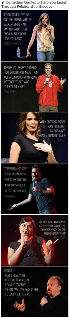 Comedians on love and relationships.