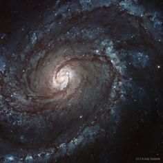 """Marvel At The Sparkling, Spiraling Majesty Of The M100 Galaxy Messier 100, or M100, is a grand design spiral galaxy that contains over 100 billion stars. This Hubble Space Telescope image was made in 2009, but there's even more history here; look carefully for the """"small spot that is a light echo from a bright supernova that was recorded years before the image was taken."""""""