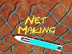 Net Making - Fishing Net - How To Make Your Own Fishing Net - yasmin Fishing Knots, Fishing Tips, Crappie Fishing, Bass Fishing, Survival Tips, Survival Skills, Wilderness Survival, Fish Net Decor, Net Making